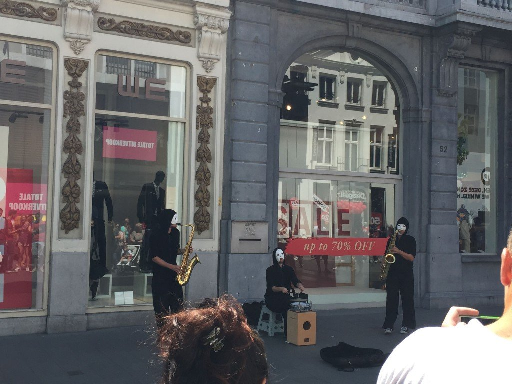 street musicians in Antwerp. I must admit; the masks freaked me out.