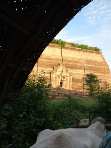 cracked pagoda in Ava as viewed from my ox cart taxi